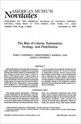 The Bats of Liberia: Systematics, Ecology, and Distribution