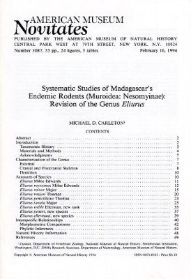 Systematic Studies of Madagascar's Endemic Rodents (Muroidae: Nesomyinae)