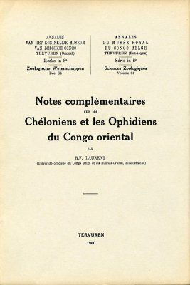 Notes Complémentaires sur les Chéloniens et les Ophidiens du Congo Oriental [Supplementary Notes on the Chelonians and Ophidians of Eastern Congo]