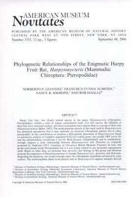 Phylogenetic Relationships of the Enigmatic Harpy Fruit Bat, Harpyionycteris (Mammalia: Chiroptera: Pteropodidae)