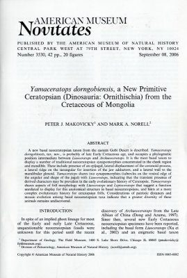 Yamaceratops Dorngobiensis, a new Primitive Ceratopsian (Dinosauria, Ornithischia) from the Cretaceous of Mongolia