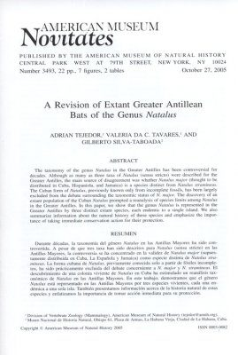 A Revision of Extant Greater Antillean Bats of the Genus Natalus
