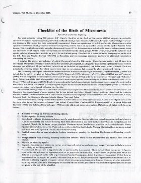Checklist of the Birds of Micronesia