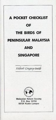 A Pocket Checklist of the Birds of Peninsular Malaysia and Singapore