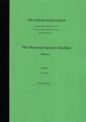 The Geraniaceae Group, Geraniales Species Checklist, Volume 1, Part 3: Monsonia
