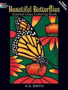 Beautiful Butterflies Stained Glass Coloring Book