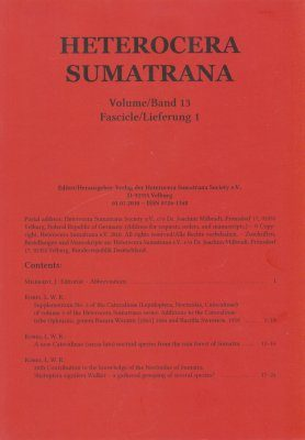Heterocera Sumatrana, Volume 13, Fascicle 1 (Red Journal): Fourth Red Volume