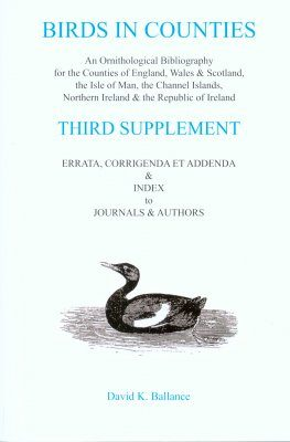 Birds in Counties: Third Supplement
