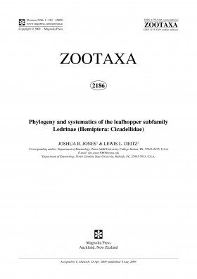 Zootaxa, Volume 2186: Phylogeny and Systematics of the Leathopper Subfamily Ledrinae (Hemiptera: Cicadellidae)