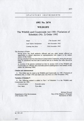 Wildlife and Countryside Act 1981 (Variation of Schedule Nº2) Order.1992