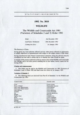 Wildlife and Countryside Act 1981 (Variation of Schedule 2&3) Order 1992