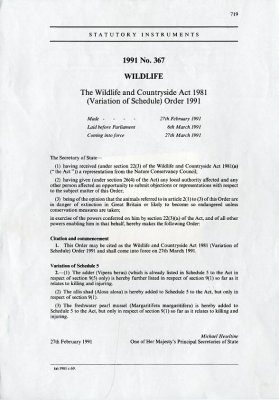 Wildlife and Countryside Act 1981 (Variation of Schedule) Order 1991