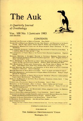 The Auk: Volumes 100-103