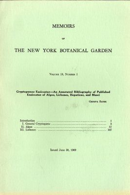 Memoirs of the New York Botanical Garden Volume 19, Number 1