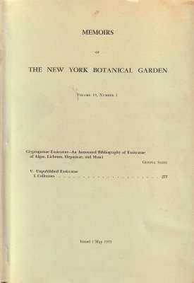 Memoirs of the New York Botanical Garden Volume 19, Number 3