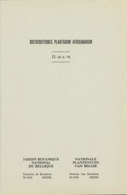 Distributiones Plantarum Africanarum [French], Fascicle 13: Rubiaceae, Zingiberaceae