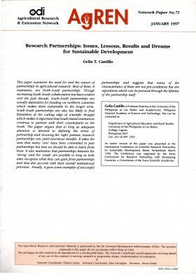 Research Partnerships: Issues, Lessons, Results and Dreams for