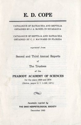 Catalogue of Batrachia and Reptilia Obtained by JA McNiel in Nicaragua / Catalogue of Reptilia and Batrachia Obtained by J Maynard in Florida