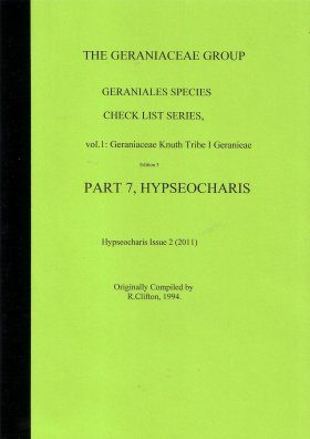 The Geraniaceae Group, Geraniales Species Checklist,  Volume 1, Part 7: Hypseocharis