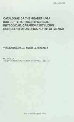 Catalogue of the Geadephaga (Coleoptera: Trachypachidae, Rhysodidae. Carabidae Including Cicindelini) of America North of Mexico