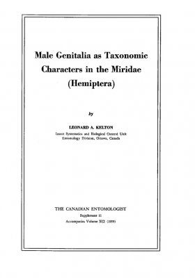 Male Genitalia as Taxonomic Characters in the Miridae (Hemiptera)