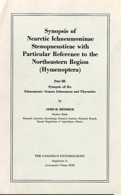 Synopsis of Nearctic Ichneumoninae Stenopneusticae with Particular Reference to the Northeastern Region (Hymenoptera). Part III