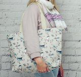Large Bird print canvas bag