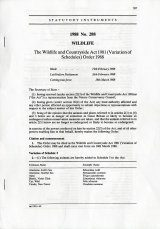 Wildlife and Countryside Act 1981(Variation of Schedules)
