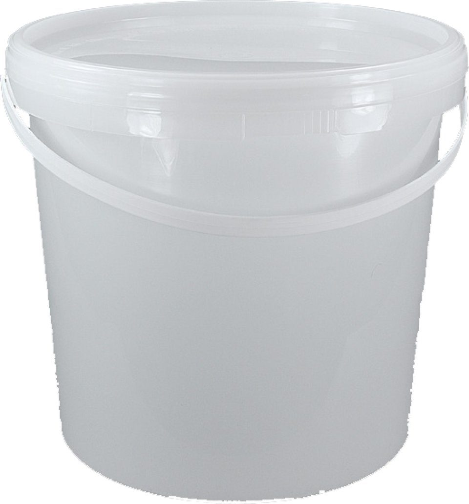 White Plastic Bucket With Lid And Plastic Handle Nhbs