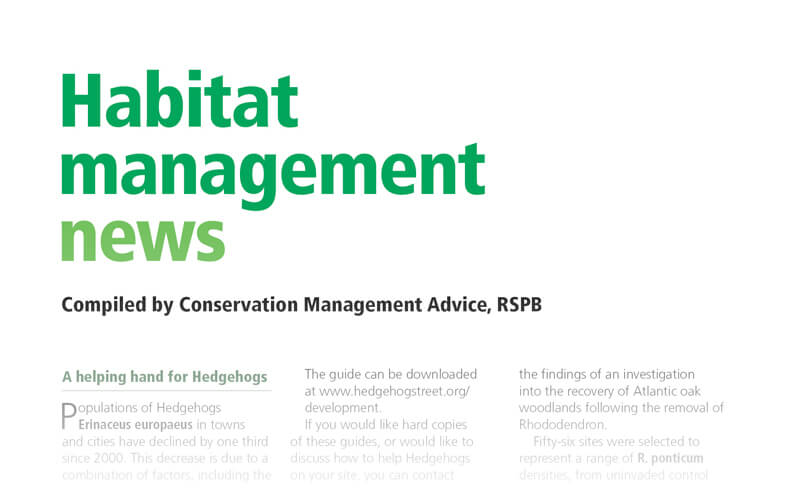 Habitat management news