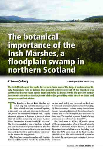 The botanical importance of the Insh Marshes, a floodplain swamp in northern Scotland