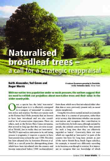Naturalised broadleaf trees – a call for a strategic reappraisal