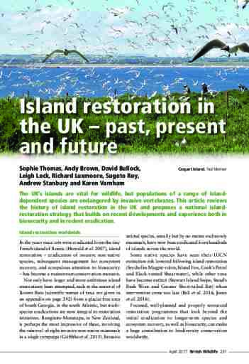 Island restoration in the UK – past, present and future