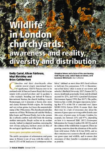 Wildlife in London churchyards: awareness and reality, diversity and distribution