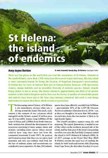 St Helena: the island of endemics
