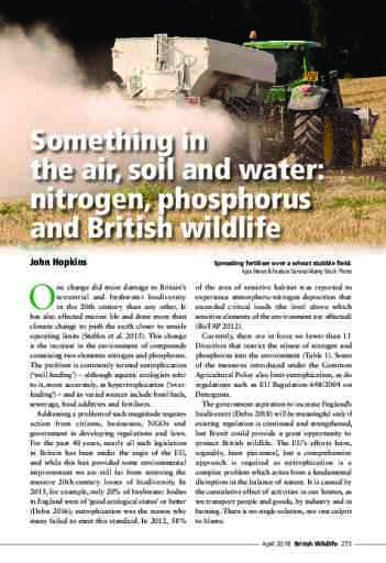 Something in the air, soil and water: nitrogen, phosphorus and British wildlife