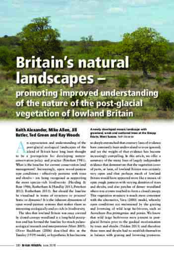 Britain's natural landscapes – promoting improved understanding of the nature of the post-glacial vegetation of lowland Britain