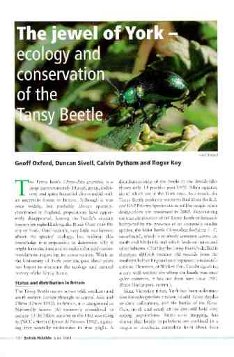 The jewel of York – ecology and conservation of the Tansy Beetle
