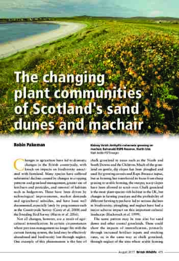 The changing plant communities of Scotland's sand dunes and machair