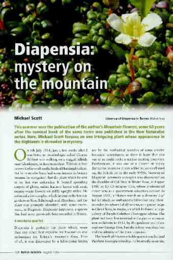 Diapensia: mystery on the mountain