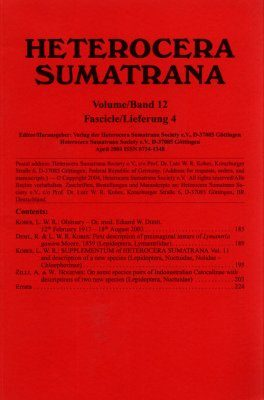 Heterocera Sumatrana, Volume 12, Fascicle 4 (Red Journal): Third Red Volume (1997-2008)