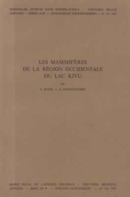 Les Mammifères de la Région Occidentale du Lac Kivu [The  Mammals of the Western Region of  Lake Kivu]