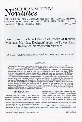 Description of a New Genus and Species of Rodent (Murinae, Muridae, Rodentia) from the Tower Karst Region of Northeastern Vietnam