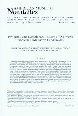 Phylogeny and Evolutionary History of Old World Suboscine Birds (Aves, Eurylaimides)