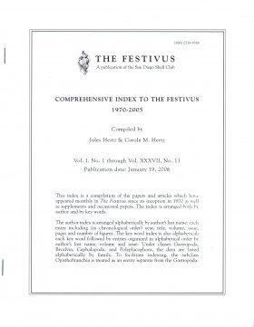 Comprehensive Index to The Festivus 1970 - 2005