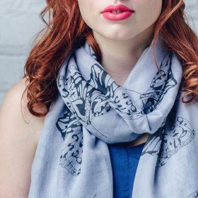 Large butterfly print grey scarf