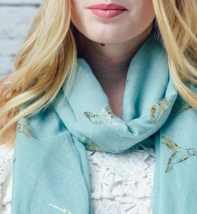 Foil Bird and Butterfly soft print green scarf