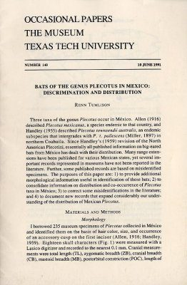 Bats of the Genus Plectotus in Mexico: Discrimination and Distribution