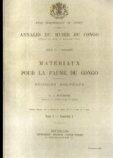 Materiaux Pour La Faune du Congo: Poissons Nouveaux, Tome 1 - Fascicule 1 [Materials for the Fauna of Congo: New Fishes, Volume 1, Fascicle 1]