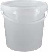 White Plastic Bucket with Lid and Plastic Handle